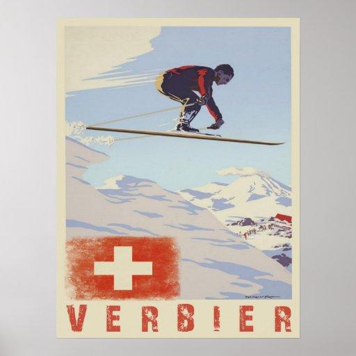 Poster con la impresión del esquí del vintage de S