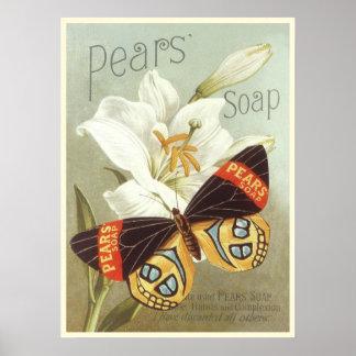Poster con la impresión del jabón de las peras del