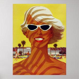 Poster con la impresión del vintage de la playa