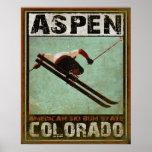 Poster con la impresión fresca del esquí de Aspen