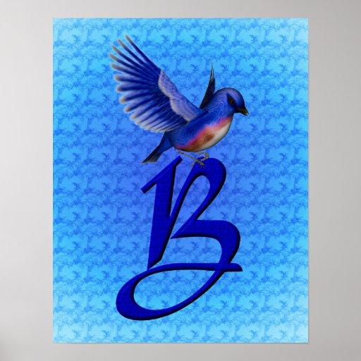 Poster con monograma del Bluebird de la inicial B