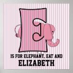 """Poster con monograma del sitio del bebé de """"E"""" del"""