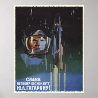 Poster con propaganda del programa espacial de URS
