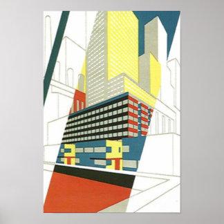 Poster concreto de la arquitectura de los rascacie