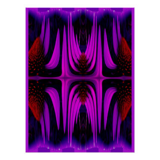Poster Coneflower Abstract - Purple