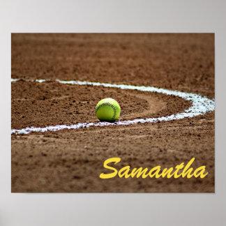 Poster conocido de encargo de la foto del softball