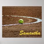 Poster conocido de encargo de la foto del softball póster