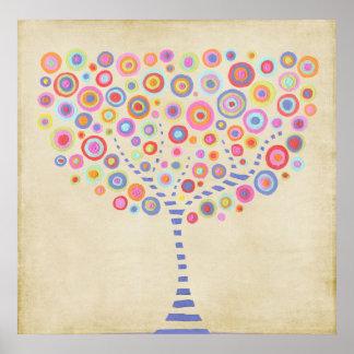 Poster conocido personalizado árbol retro de la pa