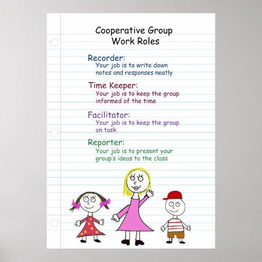 Poster cooperativo de las reglas de trabajo de gru