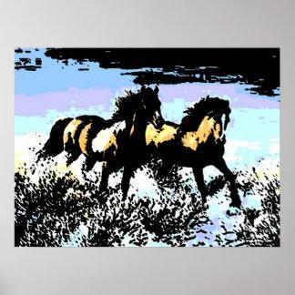 Poster corriente de la impresión de los caballos d