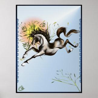 Poster corriente del caballo