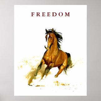 Poster corriente del caballo de la libertad de