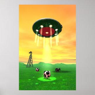 Poster cósmico de la abducción de la vaca