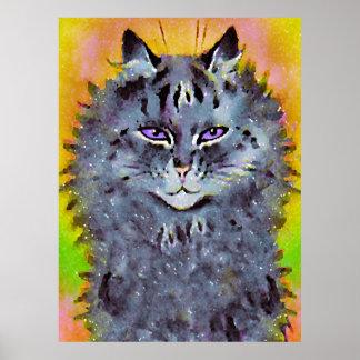Poster cósmico del arte del gato del Hippie de Lou