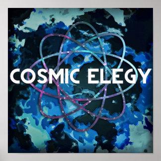 Poster cósmico del logotipo del átomo de la elegía