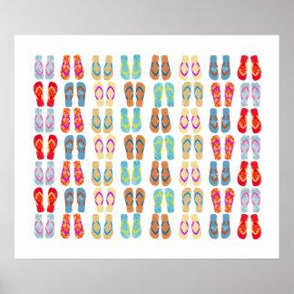 Poster costero colorido de los flips-flopes de la