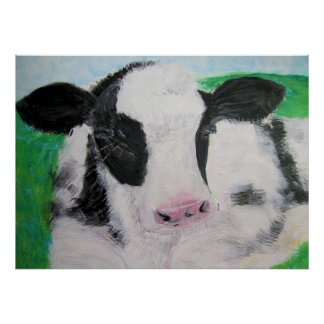 Poster, Cow Calf Acrylic Painting