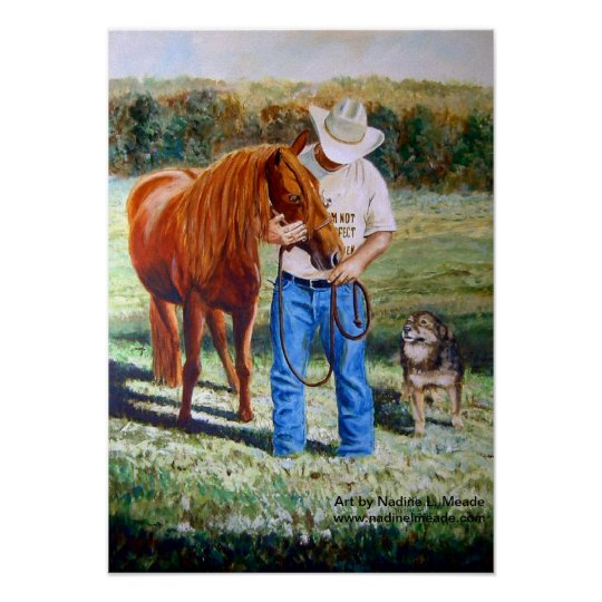 Poster, Cowboy with Horse and Dog Poster
