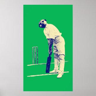 poster cricketing del meerkat del vintage adaptabl