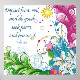 Poster cristiano con 34:14 de los salmos de la esc