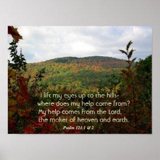 Poster cristiano con el follaje de otoño en las co