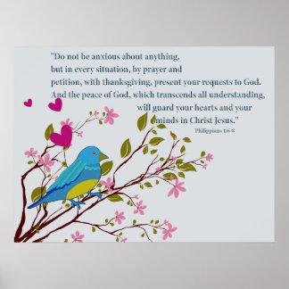 Poster cristiano con el pájaro de la escritura de