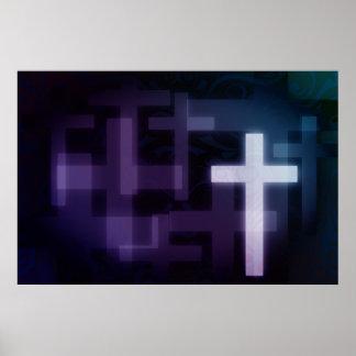 Poster cruzado blanco moderno de la religión de la