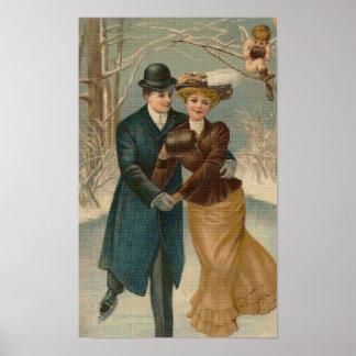 Poster cruzado patinador de la puntada de los pare