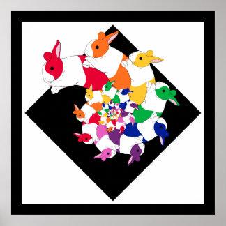 Poster cuadrado de los conejitos del fractal póster