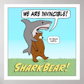 Poster cuadrado invencible divertido del tiburón y