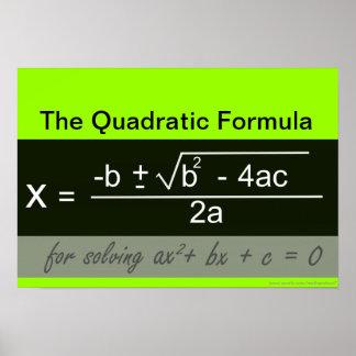 Poster cuadrático de la matemáticas de la fórmula