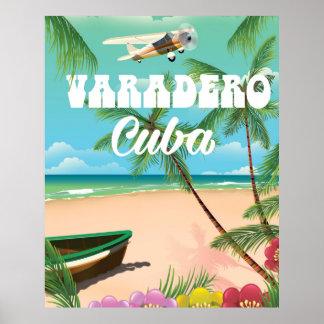 Poster cubano de las vacaciones de la playa de