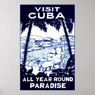 Poster cubano del viaje del vintage