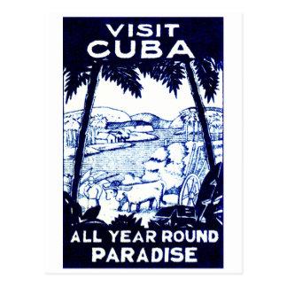 Poster cubano del viaje del vintage postal