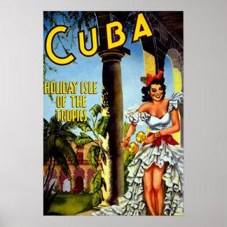 Poster cubano del viaje del vintage - zonas