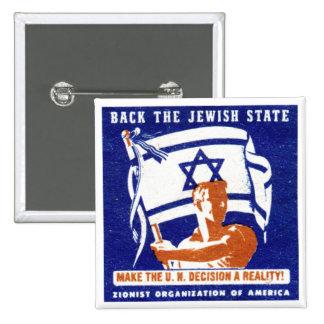 Poster de 1947 sionistas pin cuadrada 5 cm