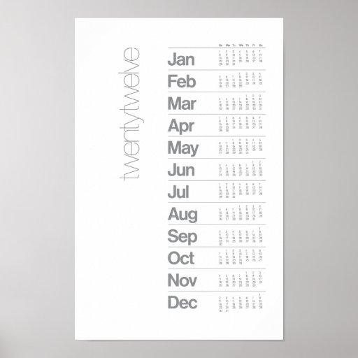 Poster de 2012 calendarios - sistema de rejilla He