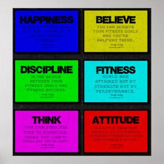 Poster de 6 citas de la aptitud en Brights