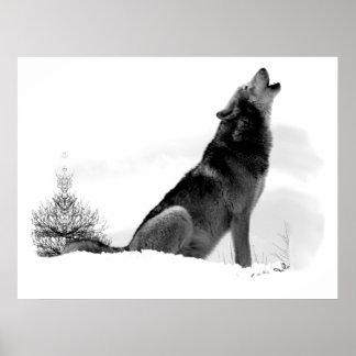 Poster de Alaska del lobo de madera