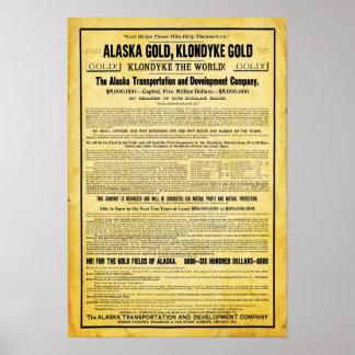 Poster de Alaska del viaje de la fiebre del oro de