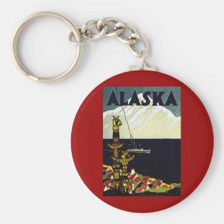 poster de Alaska del vintage Llavero Redondo Tipo Pin