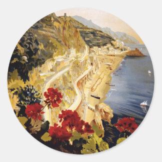 Poster de Amalfi de la visita Etiquetas Redondas
