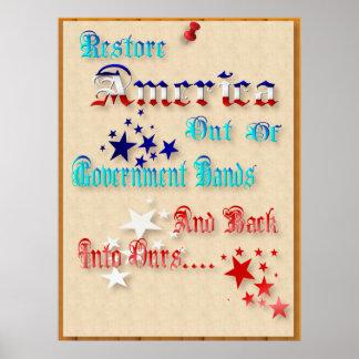 Poster de América del restablecimiento Póster