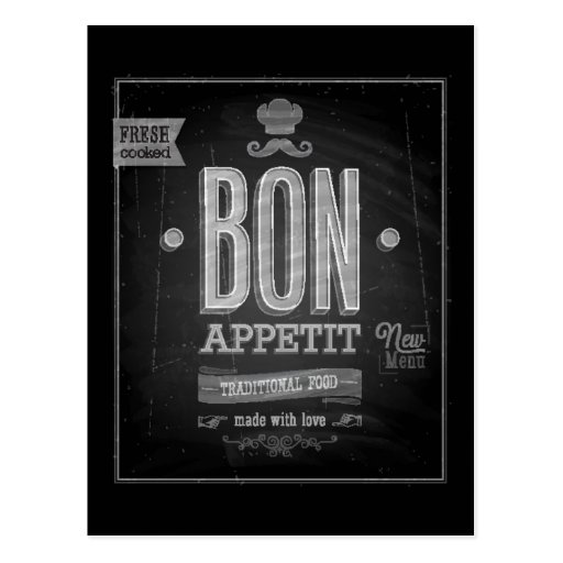 Poster de Appetit del Bon del vintage - pizarra Tarjeta Postal