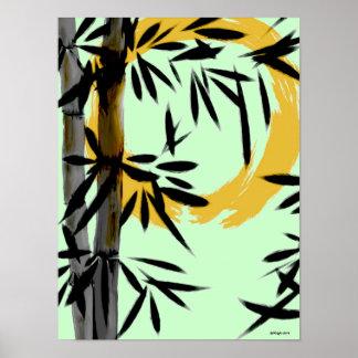 Poster de bambú de Sun del zen