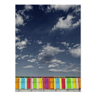 Poster de baño colorido de las chozas