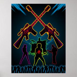 Poster de Blacklight de la guitarra del asalto