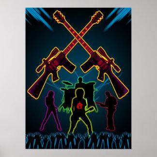 Poster de Blacklight de la guitarra del asalto Póster