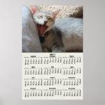 Poster de bostezo del calendario del gatito 2011 d