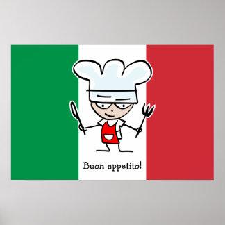 Poster de Buon Appetito con el dibujo animado en b